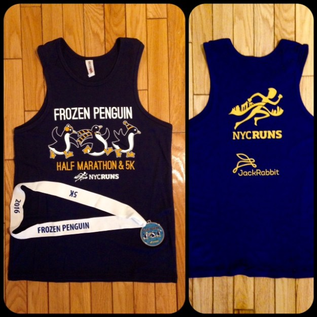 The front and back of the shirt (and the medal).  It's actually dark blue - sorry for the weird coloring above.