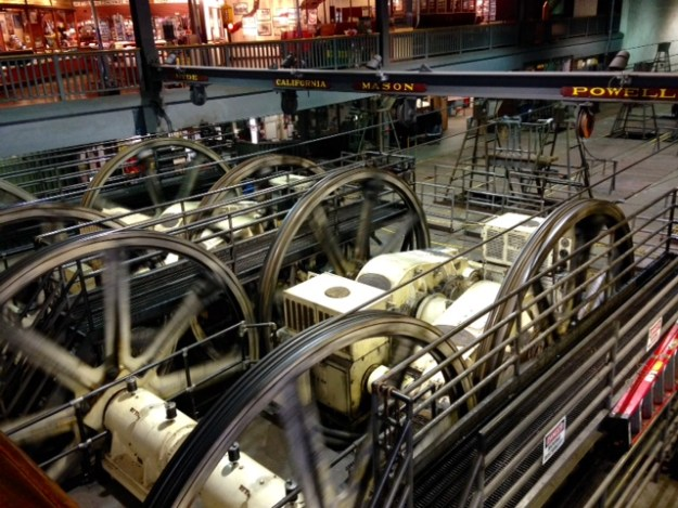 The cables for the cable cars at the cable car museum in San Francisco.