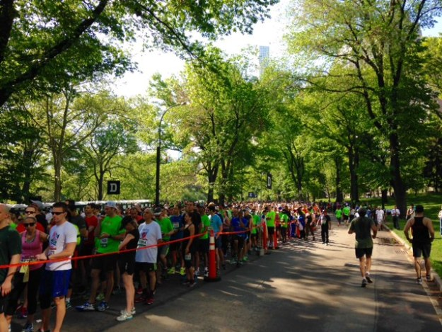 The typical long line of runners at a NYRR race in Central Park.