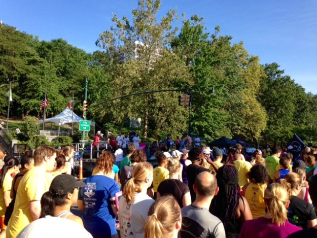 Waiting at the start of the Percy Sutton Harlem 5K.