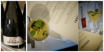 Aperitif: Vila Istenić, Połwytrawne, podawane z lodem świeżym ogórkiem i miętą. (100% Chardonnay)