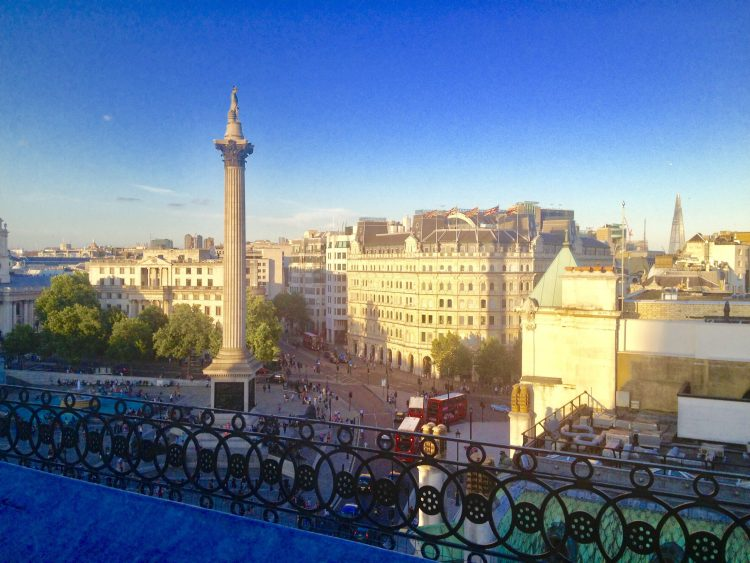 Trafalgar square London from The rooftop St James