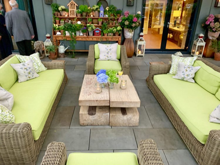 LIme green sofas on Ham Yard rooftop
