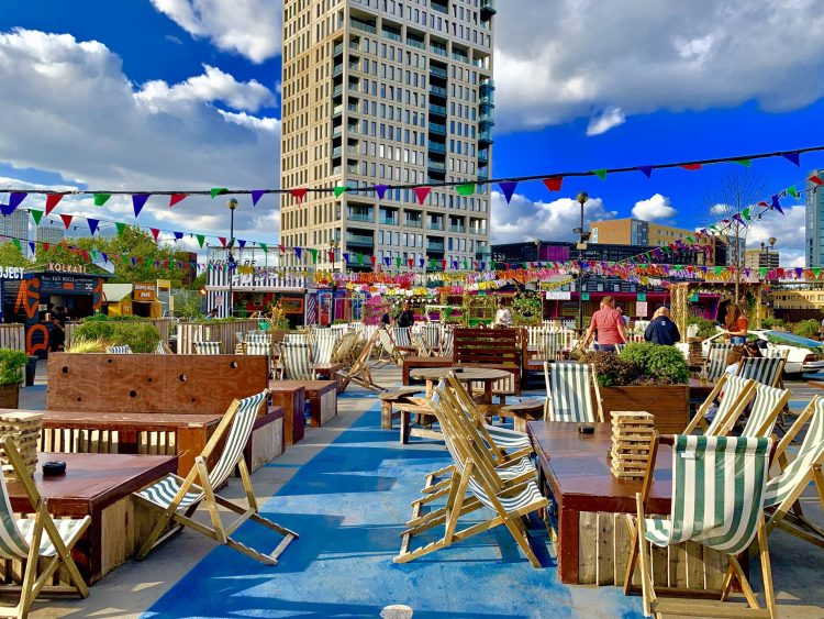 Roof East rooftop bar Strafford London deck chairs