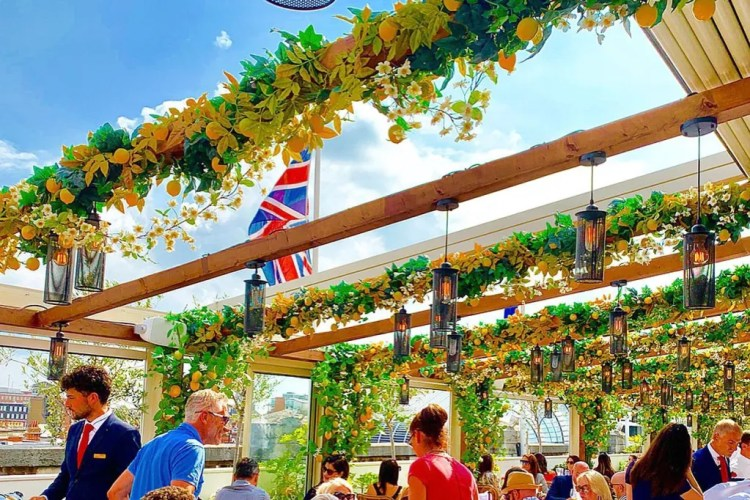Flowery rooftop restaurant central London