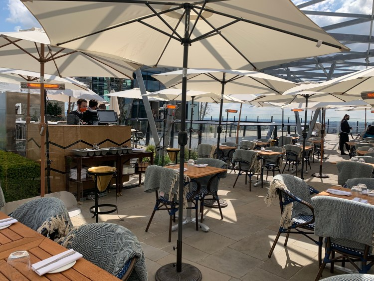 Rooftop restaurant in the heart of London city