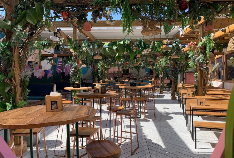 Lost in Brixton rooftop bar tables and chairs