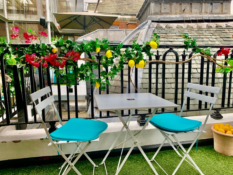 Lemon vine wrapped around railings with a table and chair in front