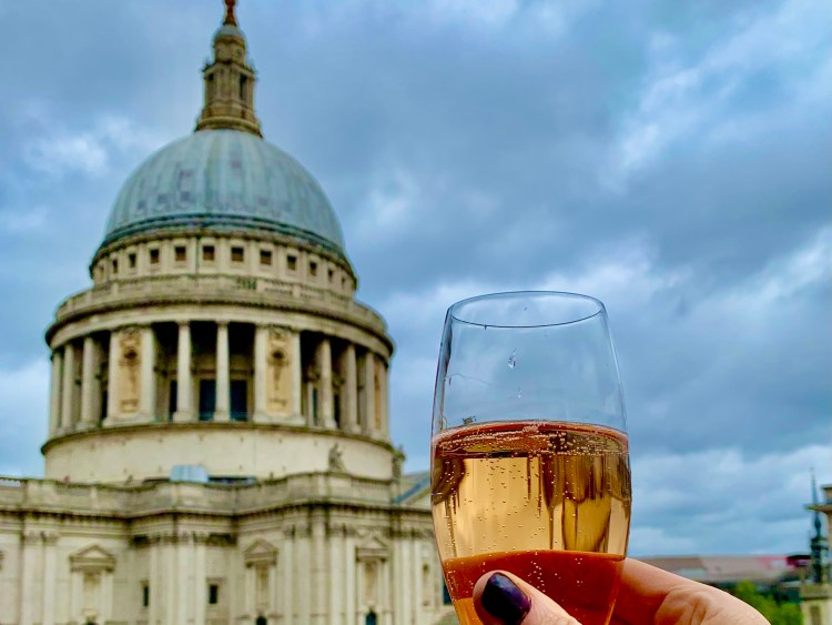 St Paul's Cathedral and a champagne glass