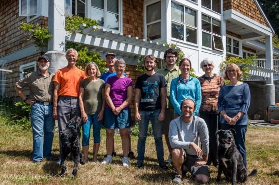 Family at Kurt and Beth's place on Whidbey Island. Treve, Kurt, Beth, Arlen, Ann, Merrick, Toland, Serena, Aaron (kneeling), Sue, Joann, and dogs, Oscar and Winston.