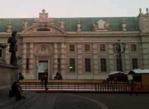 The ice rink in front of Biblioteca Nazionale, Turin