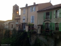 Moustiers - buildings on the river