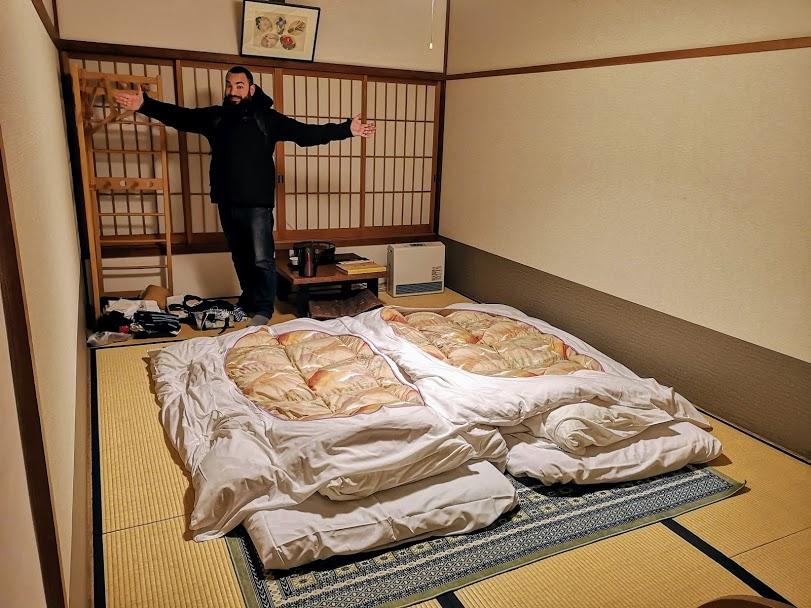 La nostra stanza pronta per dormire nel tempio Ekoin - Koyasan