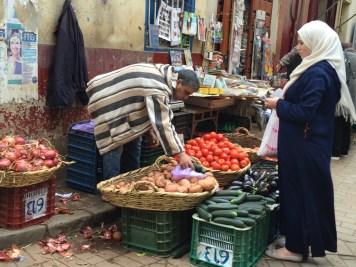 Sunday market shopping in Tangier's medina