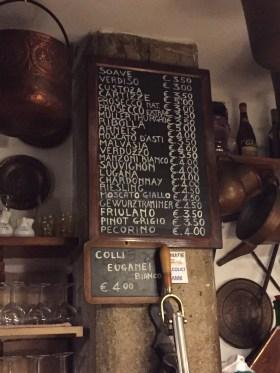 Drink menu at Cantina do Mori