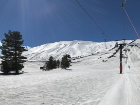 Riding the Monte Conca lift and looking at some of Etna's fun gullies