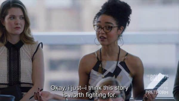 Kat (Aisha Dee) going to battle with Lauren (Emily Chang).