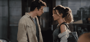 Thomas (Callum Turner) and Johanna () in The Only Living Boy in New York
