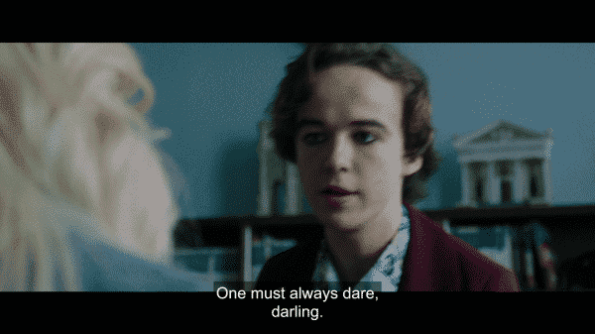 """Alex Lawther as Billy saying """"One must always dare, darling."""""""
