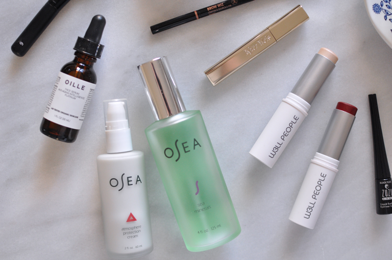 OSEA-Malibu-Atmosphere-Protection-Cream---OSEA-Sea-Minerals-Spray---Oille-Natural-Face-Serum-Platinum---Organic-Green-Natural-Makeup-Routine