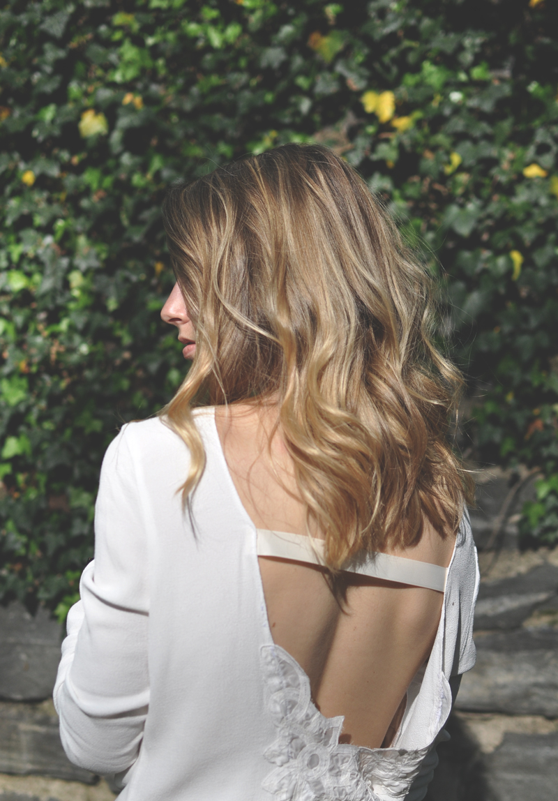 Stone-Cold-Fox-Seth-Blouse---Open-Back-White-Silk-Top-Shirt-Hand-Embroidered-Lace-Detail---Made-In-USA---Blonde-Ombre-Long-Hair