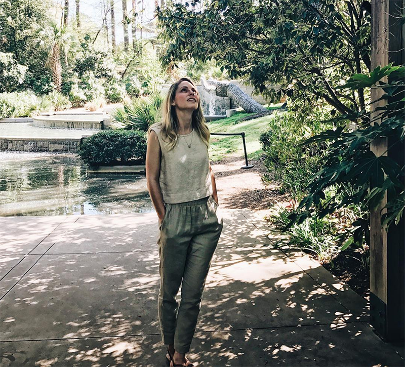 Elizabeth Suzann Petra crop top and vintage linen pull on pants
