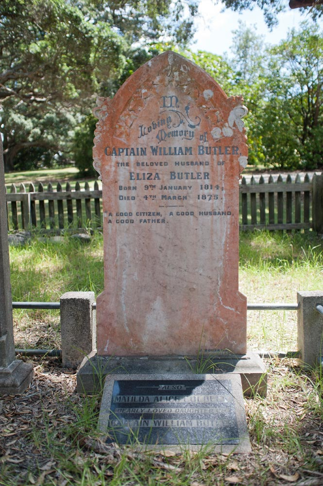 The grave of William Butler at the Butler Point Whaling Museum, Northland region, New Zealand