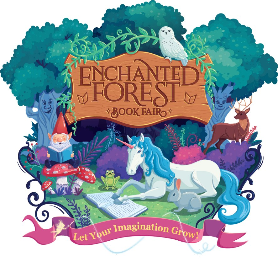 scholastic book fair enchanted forest logo