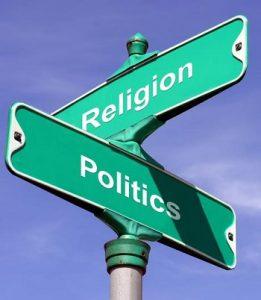 street sign - corner of religion and (government) politics