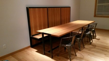 cherry and steel wall bench table