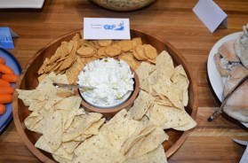 Artichoke and jalapeño dip with snowflake crackers