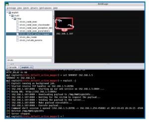 using Armitage to exploit the Apache Struts vulnerability