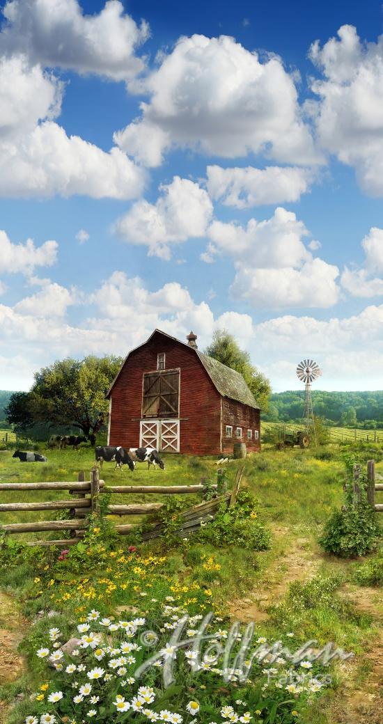 barn on grassy field with blue sky