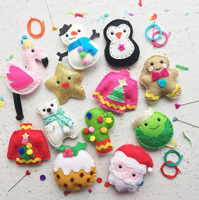 12 DIY Felt ornament kit