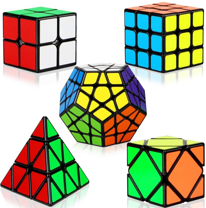 A variety of different sized rubkis cubes