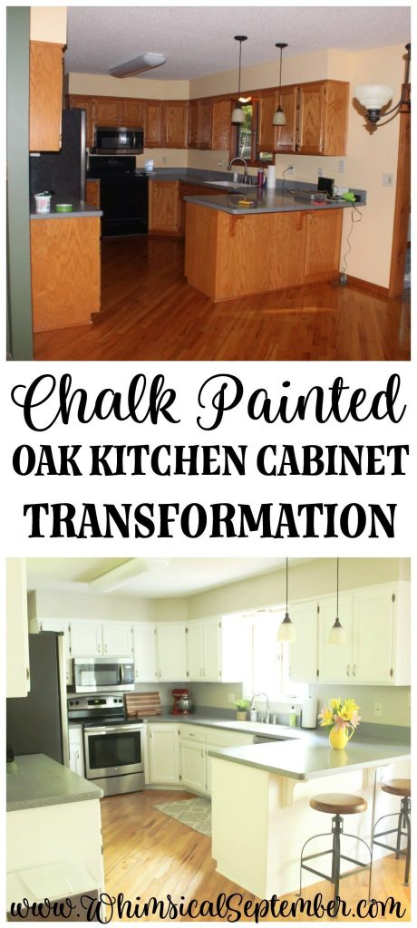 We used Annie's Sloan Pure White paint and clear wax to do a entire transformation in our kitchen. Our cabinets were originally a grainy honey oak, but now they look brand new! Here's the materials we used, the time it took, etc.