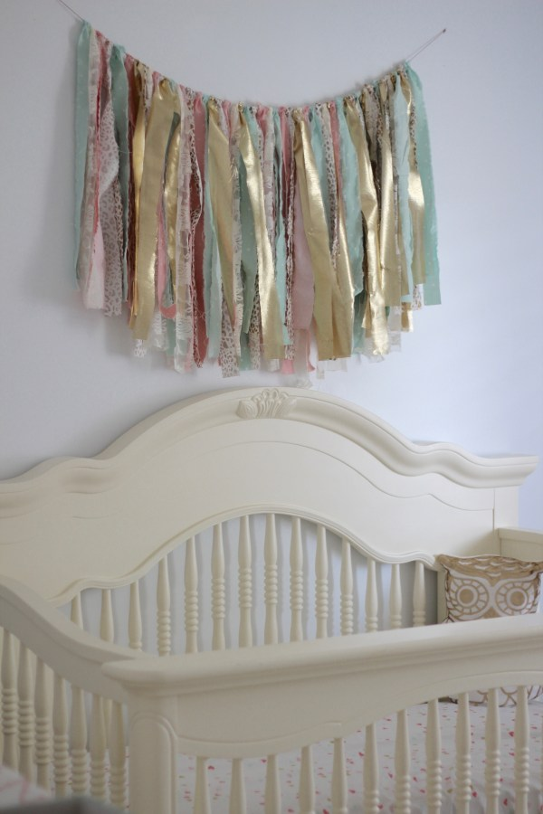Mint and Gold Nursery DIY Fabric Banner