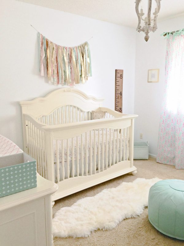 Baby girl nursery Inspiration   Mint, Pink and Gold nursery   All sources are linked! Click here to find out how to put together a beautiful, feminine, achievable mint, pink, and gold nursery!   Whimsical September