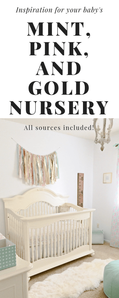 Baby girl nursery Inspiration | Mint, Pink and Gold nursery | All sources are linked! Click here to find out how to put together a beautiful, feminine, achievable mint, pink, and gold nursery! | Whimsical September