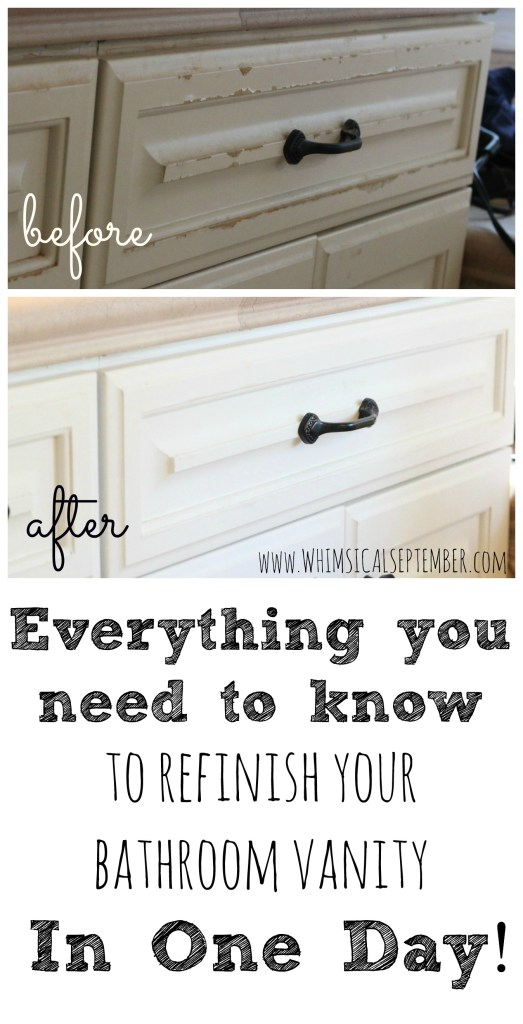 Everything you need to know to refinish your bathroom vanity in one day, including a full list of materials, steps, and amount of time too!