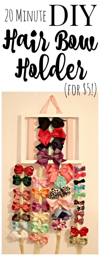 DIY hair bow holder! Cute to make as a gift or just for practical hair bow storage for your own daughter(s). There are an endles number of ways to personalize this.