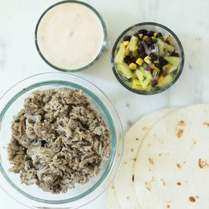 Shredded Pork Tacos with Queso