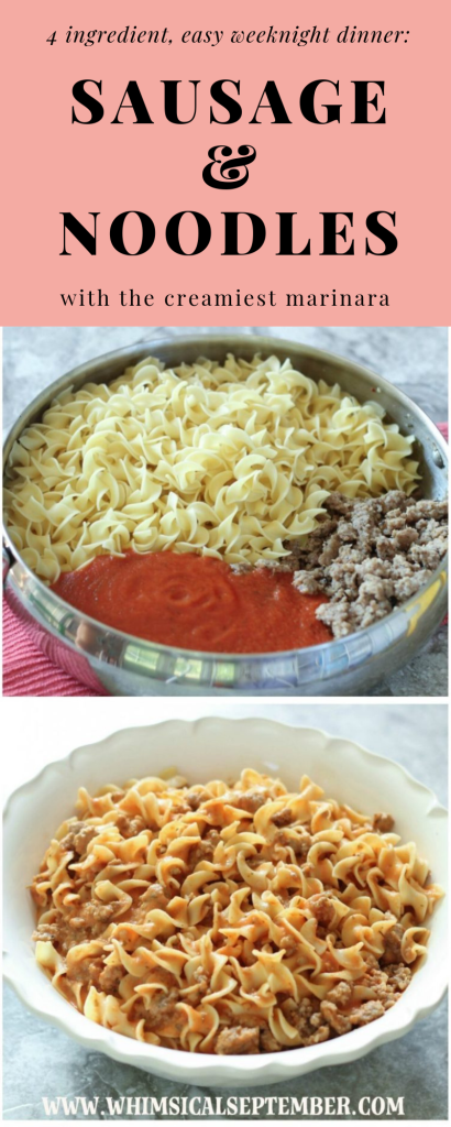 This dinner recipe combines sausage and noodles topped with the creamiest marinara sauce, making this dish incredibly easy but also insanely crowd-pleasing! Enjoy! Full recipe in this post at WhimsicalSeptember.com