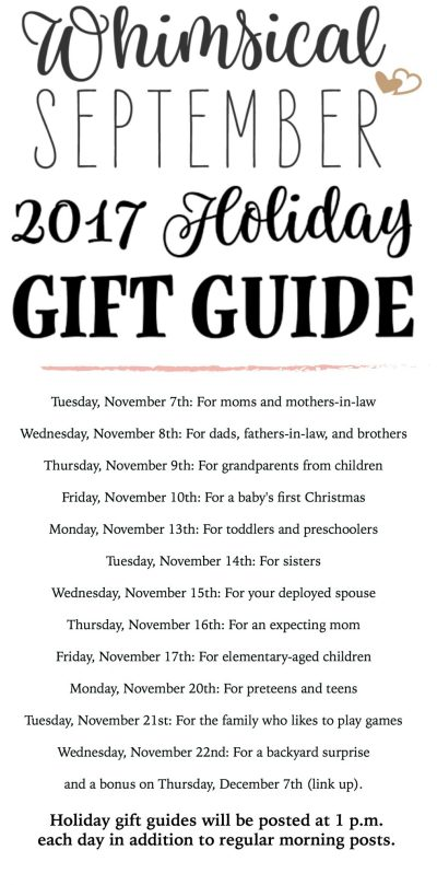 Check every afternoon from November 7th-November 22nd for a new gift guide. You'll find creative Christmas and holiday gift ideas for him, for her, for the teenager, for kids, for parents, for mom, for dad, for sisters, for grandparents, for babies, and much more! Happy shopping!