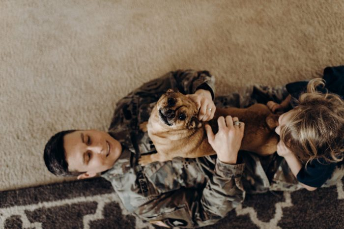 Photoshoot at home: Dog and soldier