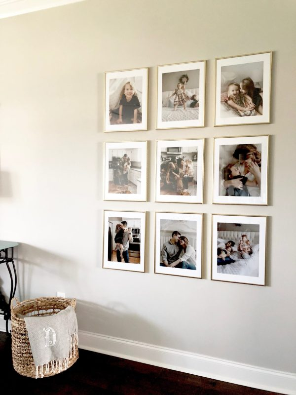 Gallery Wall Ideas | Floor to ceiling gallery wall | Grid style gallery wall | Nine frame gallery wall | These frames were affordable and relatively easy to hang on the wall, creating a show-stopping display of a family's most loved photos. Grab these frames and print pictures from your preferred source to create your favorite gallery wall yet!