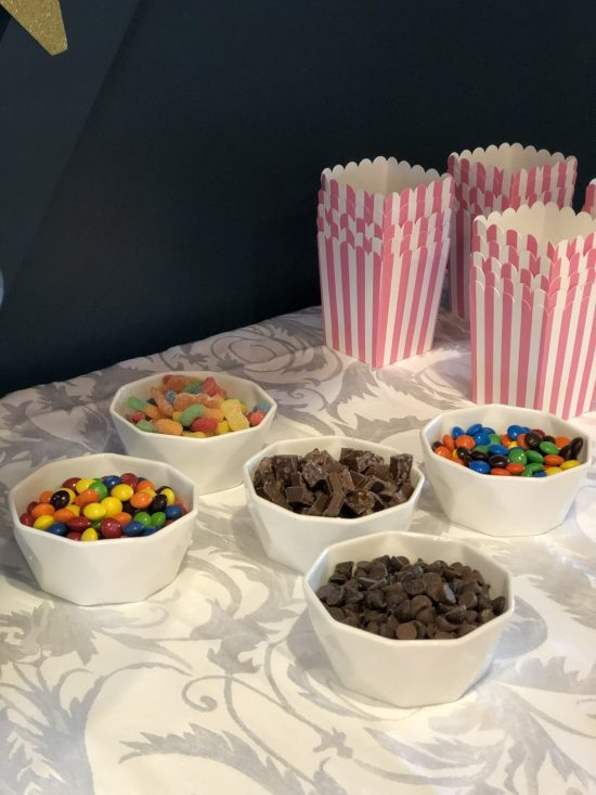 POPCORN BAR  Sleepover Birthday Party: This post shares ideas for decorations, activities, games, food, cake, snacks, and more for throwing an event that is enjoyable for boys, girls, and adults alike! More within this post on WhimsicalSeptember.com