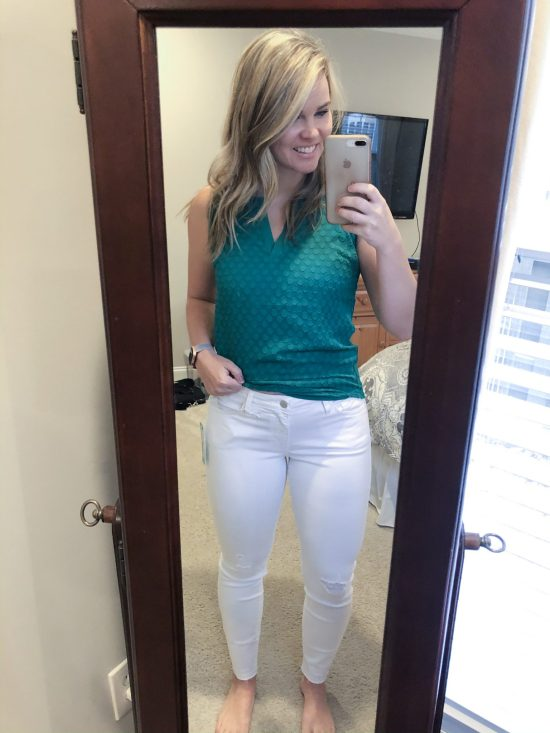 January 2020 Stitch Fix Review: In my 30th box, I received a pair of white denim pants, a pair of athletic shorts, a dress, and two tops. Here is what I kept and what I sent back. This and 30+ more Stitch Fix reviews on WhimsicalSeptember.com