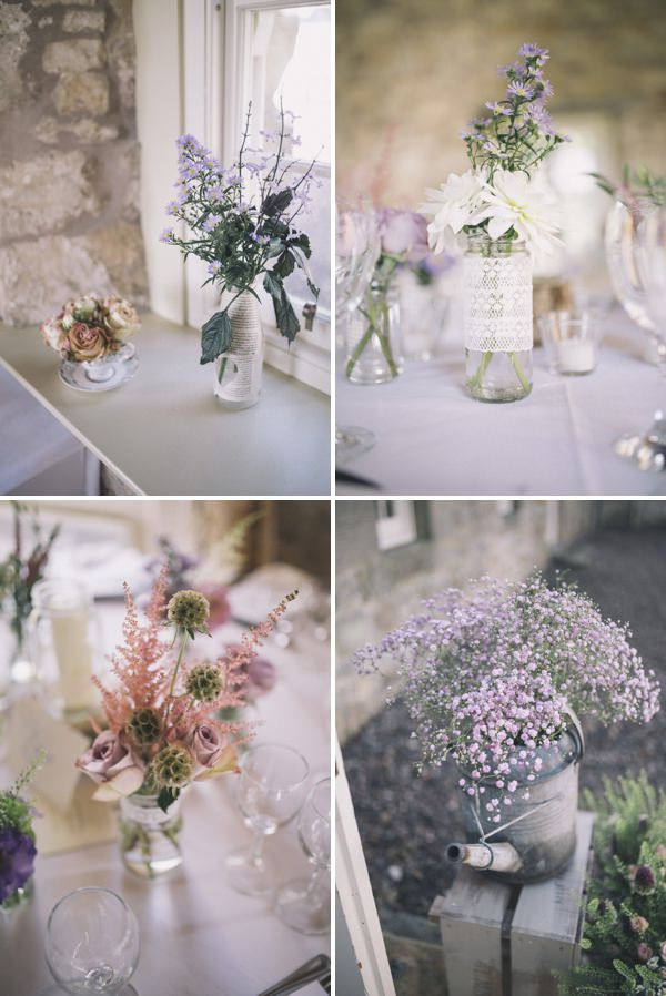flowers in bottles Chic Dusky Pink Wedding http://emmalawsonphotography.com/