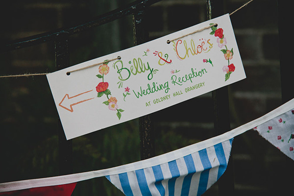 Relaxed Colourful Flower Filled Wedding Water Colour Sign http://www.blissfulwedding.co.uk/